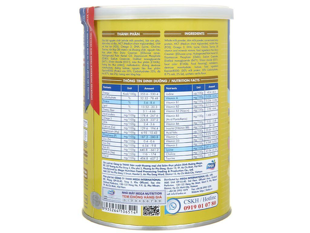 Sữa bột Lamosa Weight Gain lon 400g 3