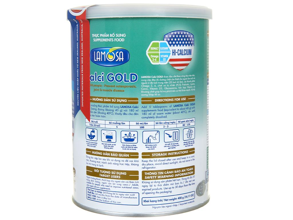 Sữa bột Lamosa Calci Gold lon 400g 3