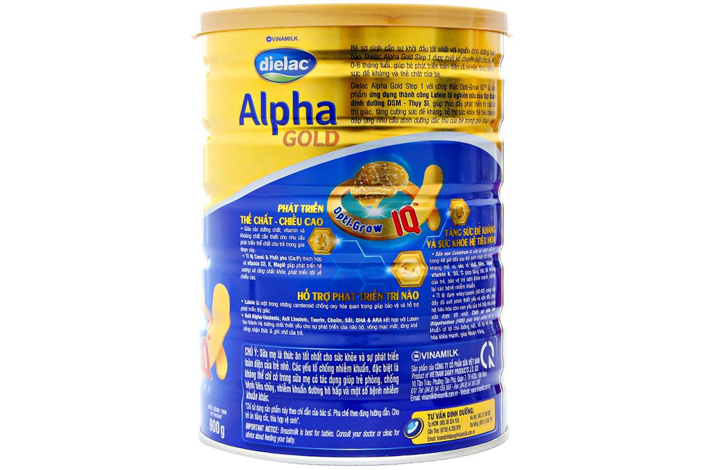 Sữa bột Dielac Alpha Gold Step 1 900g (cho bé 0-6 tháng)