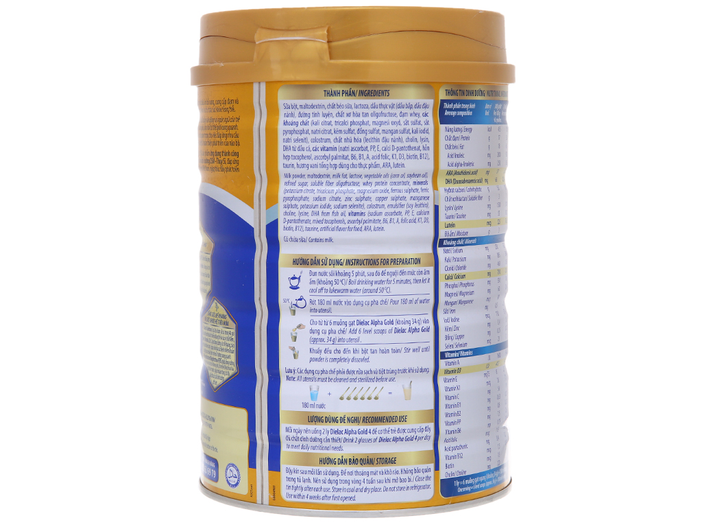 Sữa bột Dielac Alpha Gold 4 lon 900g (2 - 6 tuổi) 3