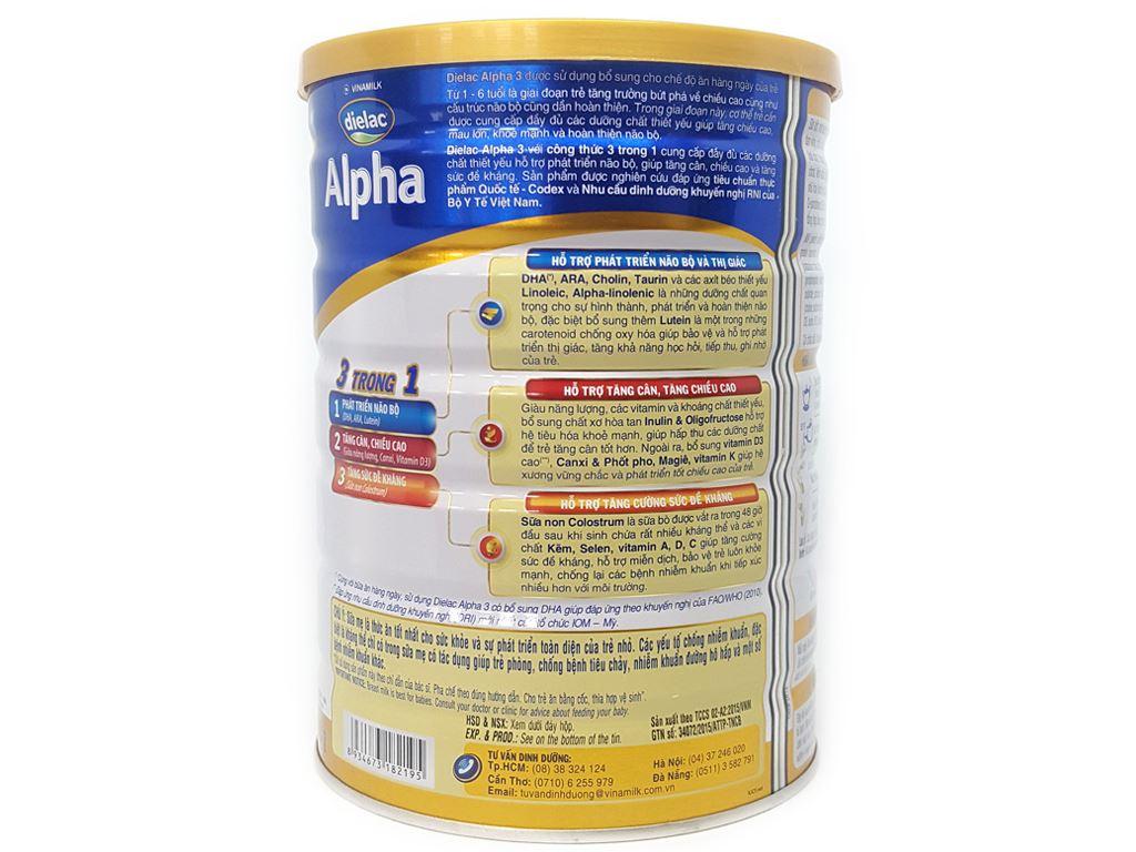 Sữa bột Dielac Alpha 3 lon 900g (1 - 2 tuổi) 3