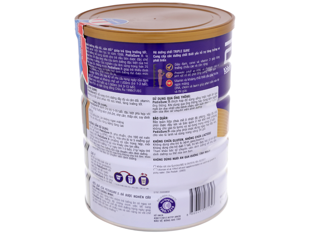 Sữa bột Abbott PediaSure BA vani lon 850g (1 - 10 tuổi) 4