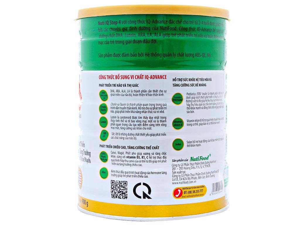 Sữa bột NutiFood Nuti IQ 4 lon 900g (2 - 4 tuổi) 2
