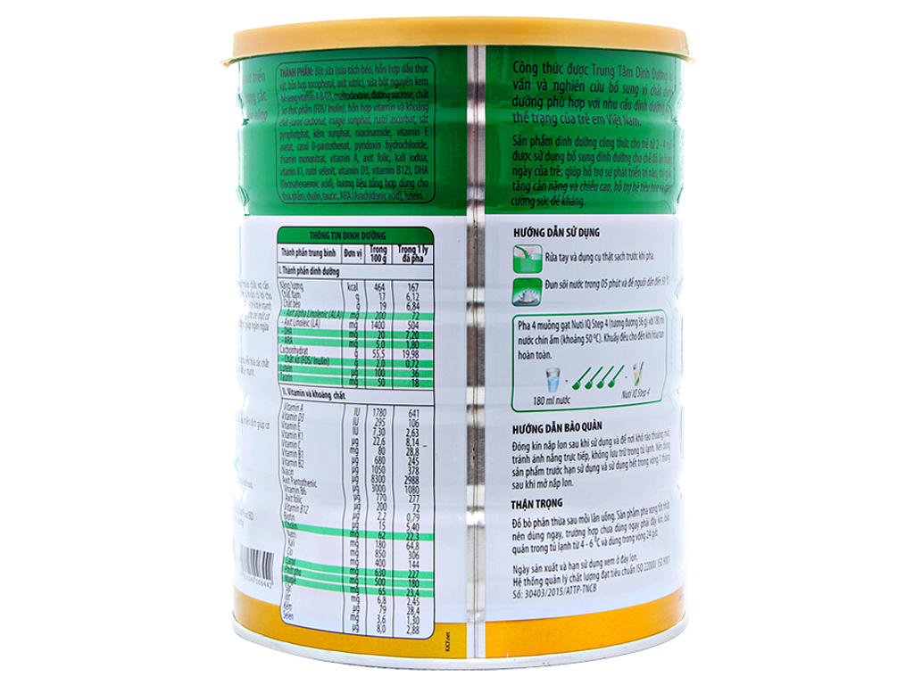 Sữa bột NutiFood Nuti IQ 4 lon 900g (2 - 4 tuổi) 3