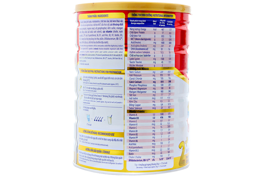 Sữa bột Dielac Grow Pro2+ 900g (cho bé 2-10 tuổi)