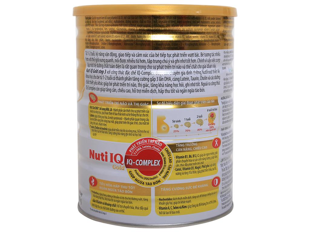 Sữa bột NutiFood Nuti IQ Gold 3 lon 900g (1 - 2 tuổi) 2