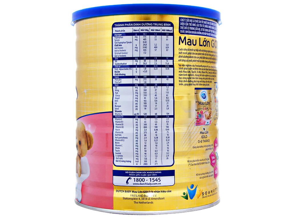 Sữa bột Dutch Baby Gold Mau lớn lon 900g (0 - 6 tháng) 2