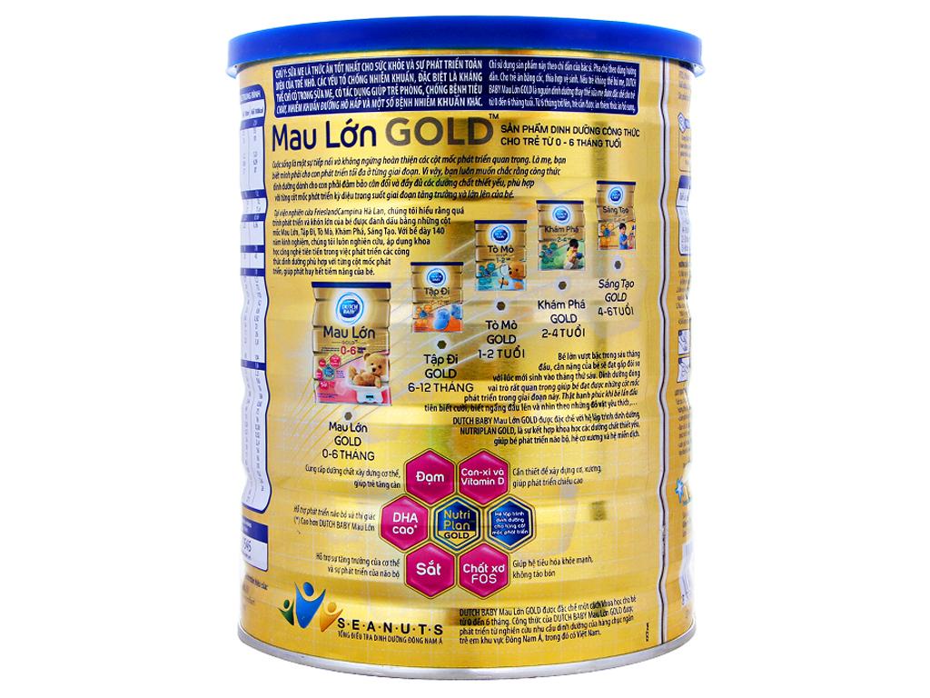 Sữa bột Dutch Baby Gold Mau lớn lon 900g (0 - 6 tháng) 3