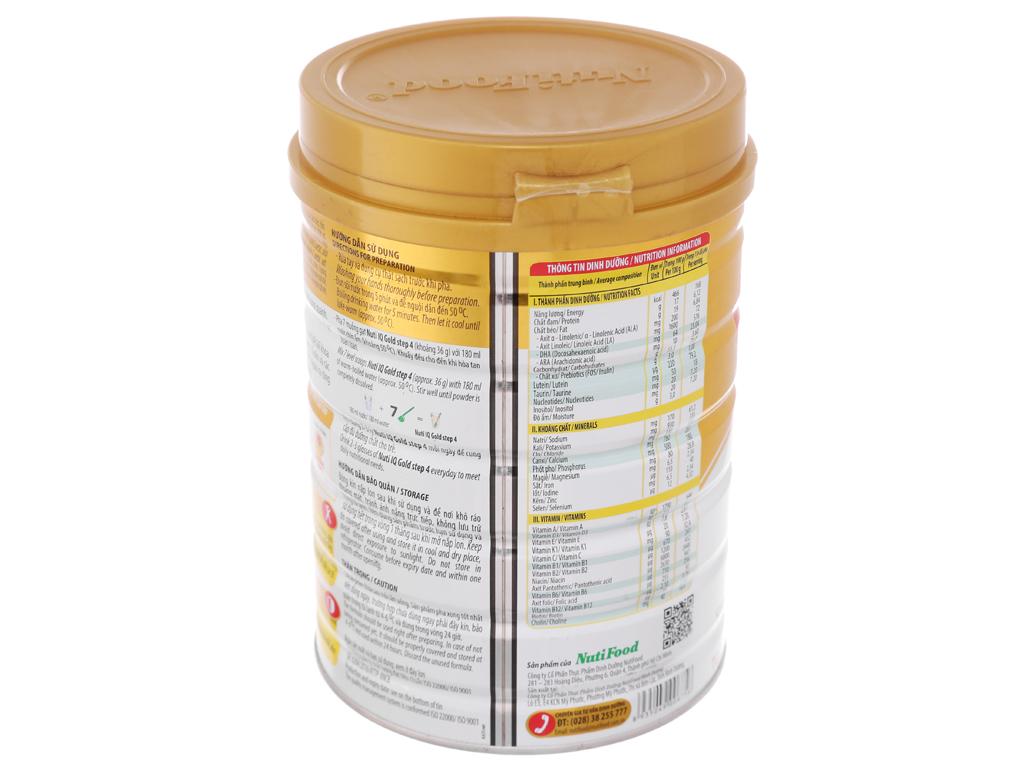 Sữa bột NutiFood Nuti IQ Gold 4 lon 900g (2 - 6 tuổi) 4
