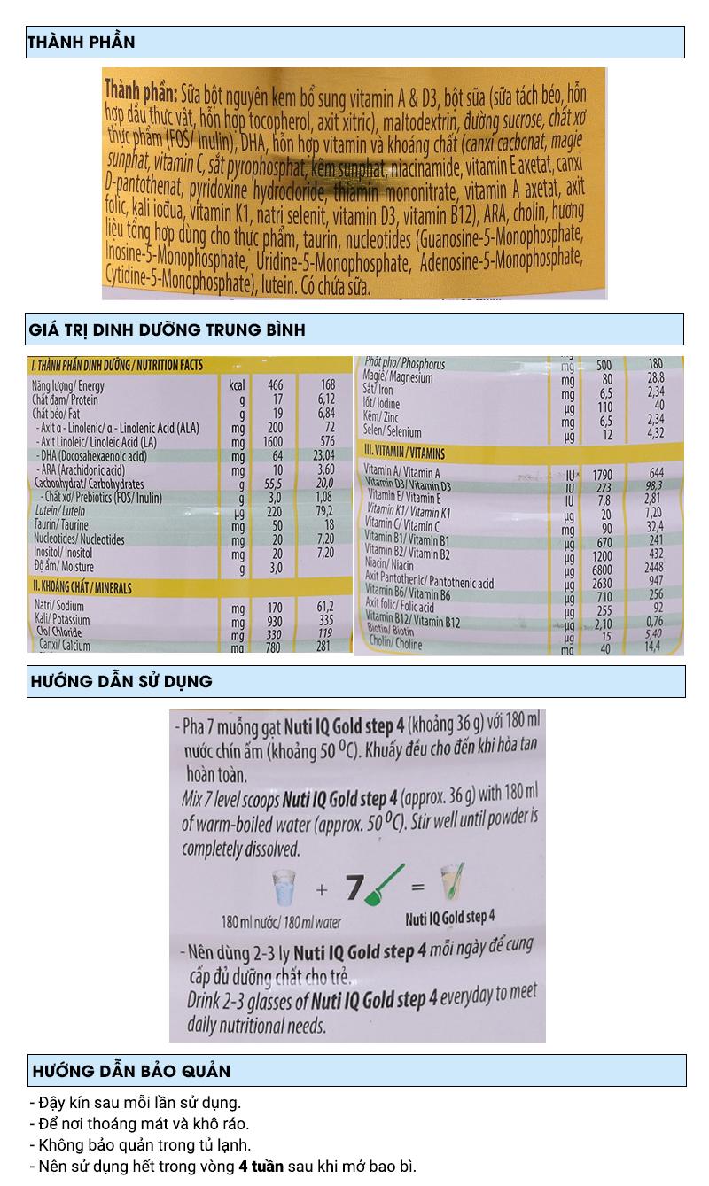 Sữa bột NutiFood Nuti IQ Gold 4 lon 900g (2 - 6 tuổi) 6