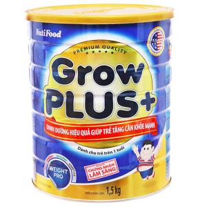 Sữa bột NutiFood Grow Plus+ tăng cân khoẻ mạnh lon 1.5kg (trên 1 tuổi)