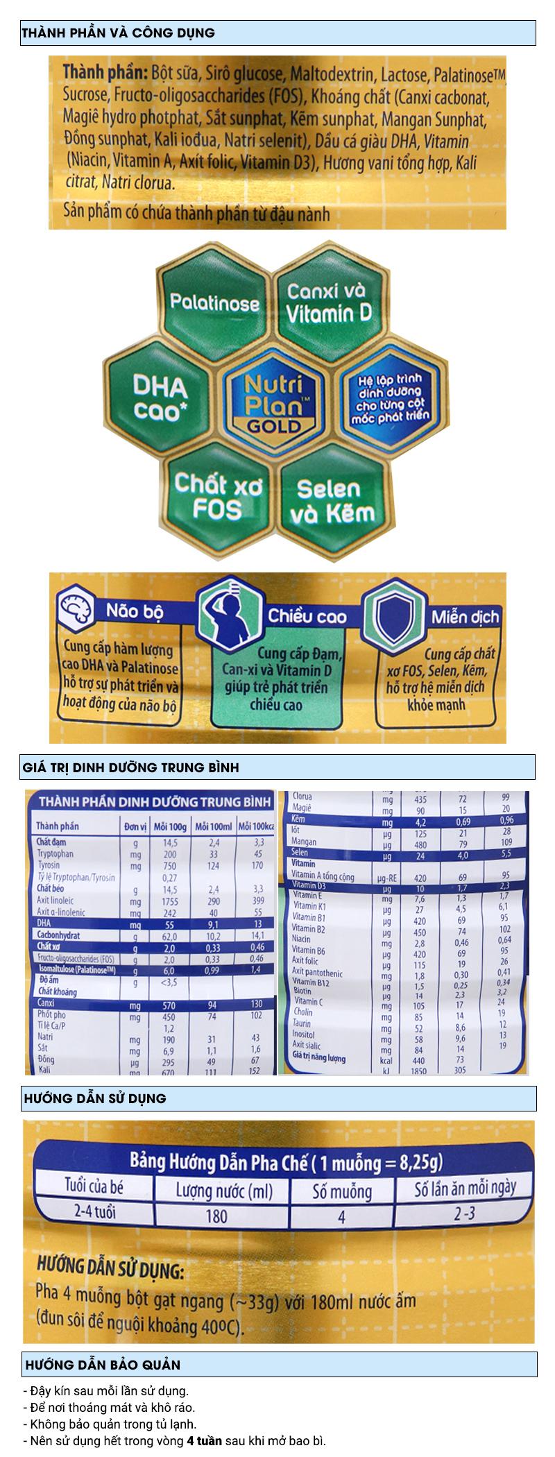 Sữa bột Dutch Lady Gold Khám phá vani lon 1,5kg (2 - 4 tuổi) 6