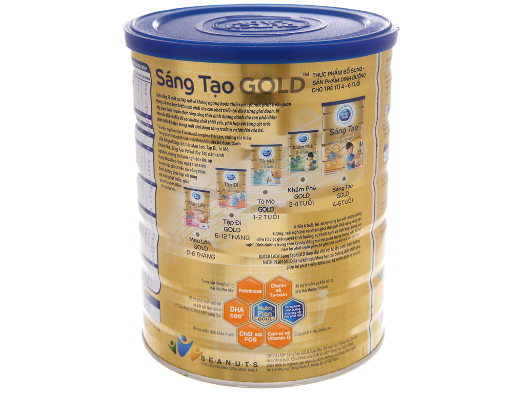 Sữa bột Dutch Lady Gold Sáng Tạo vani lon 900g (4 - 6 tuổi) 3