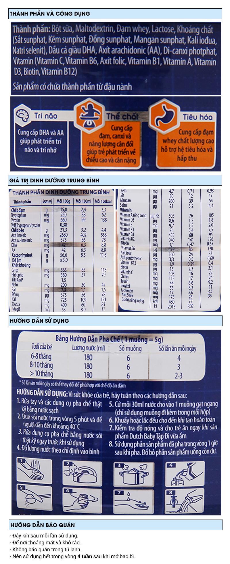 Sữa bột Dutch Baby Tập Đi lon 900g (6 - 12 tháng) 6