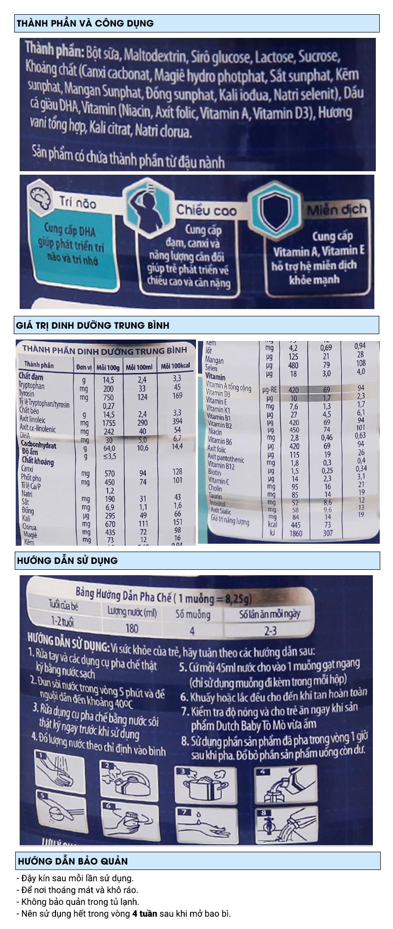 Sữa bột Dutch Baby Tò Mò vani lon 1,5kg (1 - 2 tuổi) 6