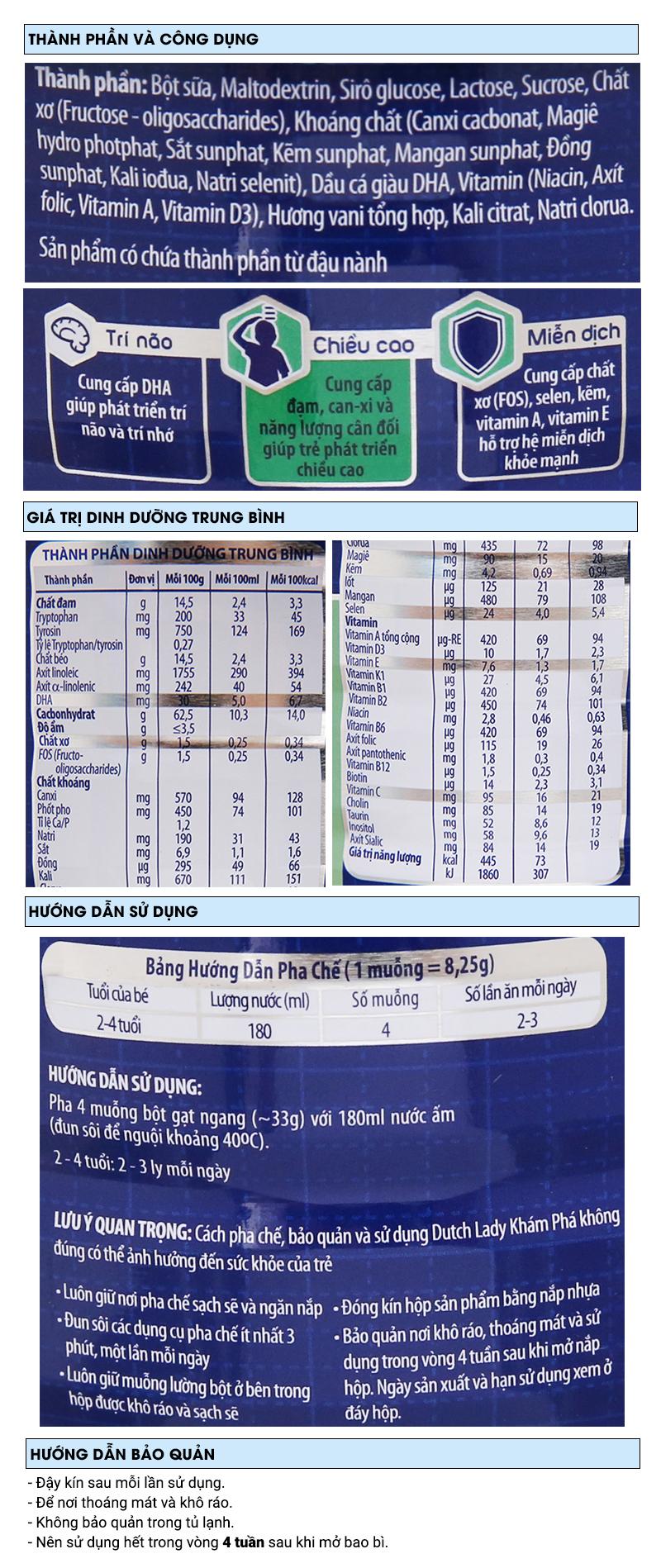 Sữa bột Dutch Lady Khám Phá vani lon 900g (2 - 4 tuổi) 6