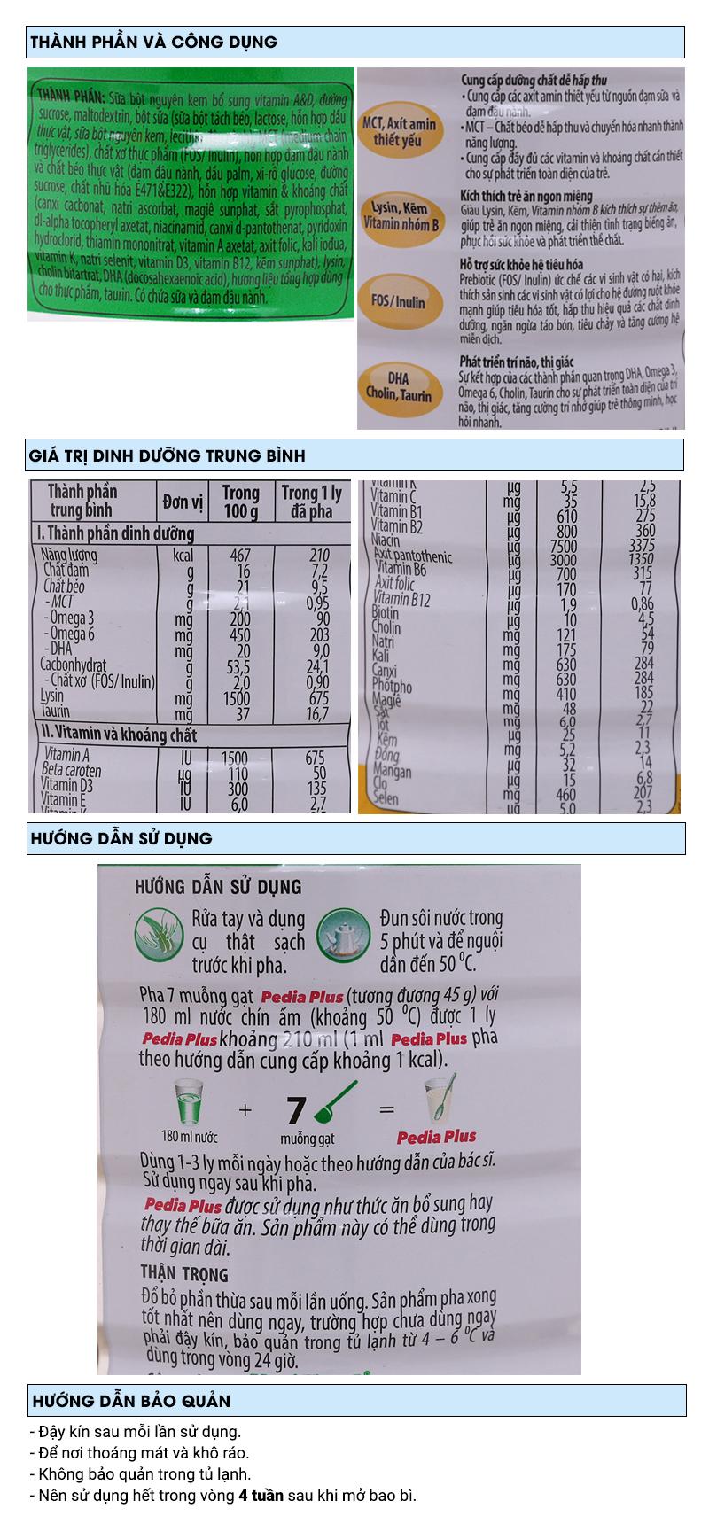 Sữa bột NutiFood Pedia Plus lon 900g (1 - 10 tuổi) 6