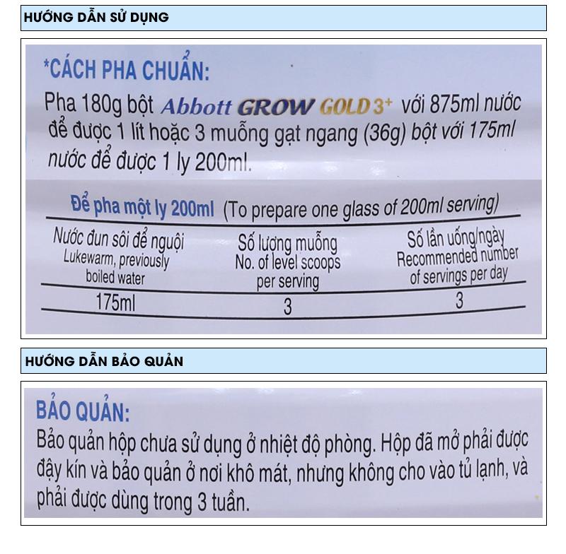 Sữa bột Abbott Grow Gold 3+ vani lon 1,7kg (3 - 6 tuổi) 7