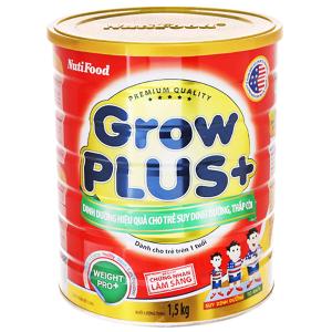 Sữa bột NutiFood Grow Plus+ lon 1.5kg cho trẻ suy dinh dưỡng thấp còi (trên 1 tuổi)