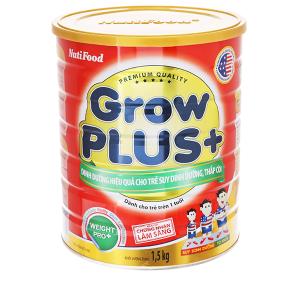 Sữa bột NutiFood Grow Plus+ lon 1,5kg cho trẻ suy dinh dưỡng thấp còi (trên 1 tuổi)