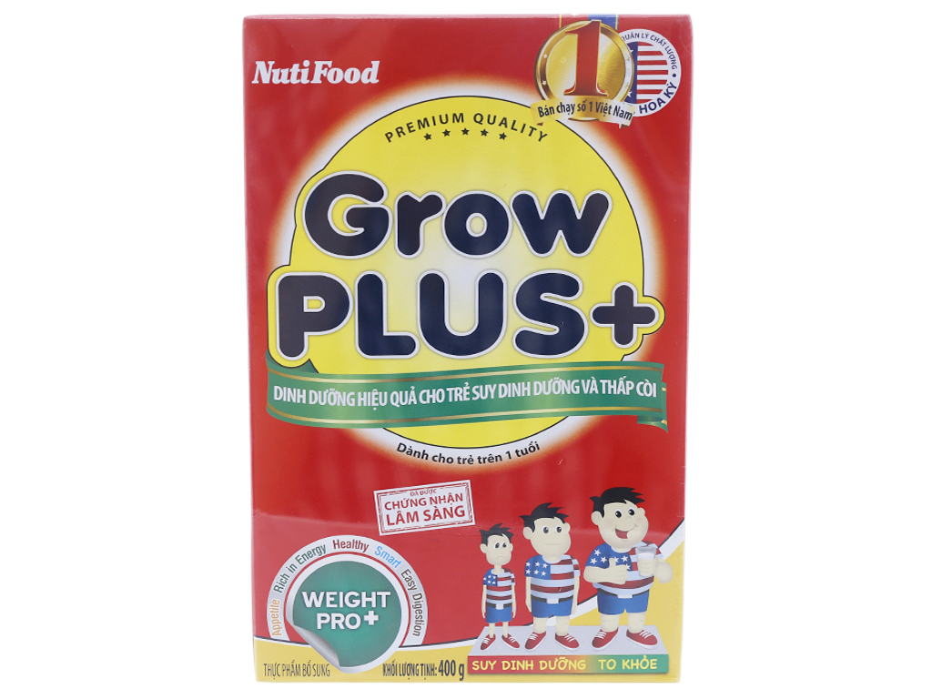 Sữa bột NutiFood Grow Plus+ suy dinh dưỡng thấp còi hộp 400g (trên 1 tuổi) 1