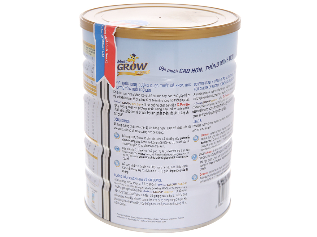 Sữa bột Abbott Grow Gold 6+ vani lon 900g (trên 6 tuổi) 3