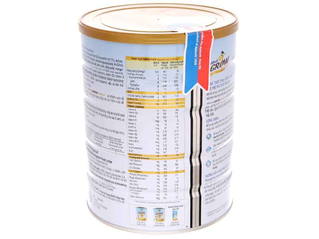 Sữa bột Abbott Grow Gold 6+ vani lon 900g (trên 6 tuổi) 4