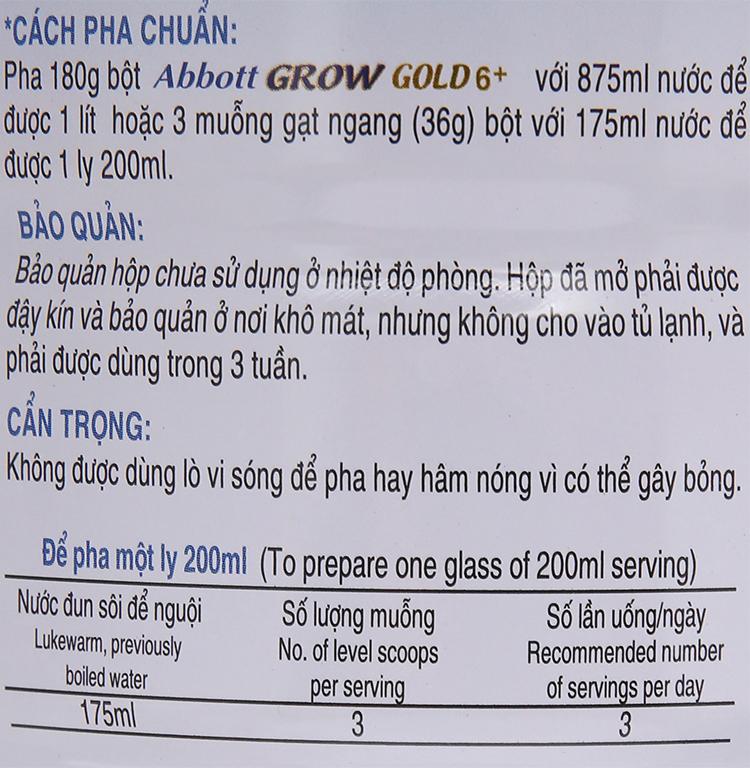 Sữa bột Abbott Grow Gold 6+ vani lon 900g (trên 6 tuổi) 8
