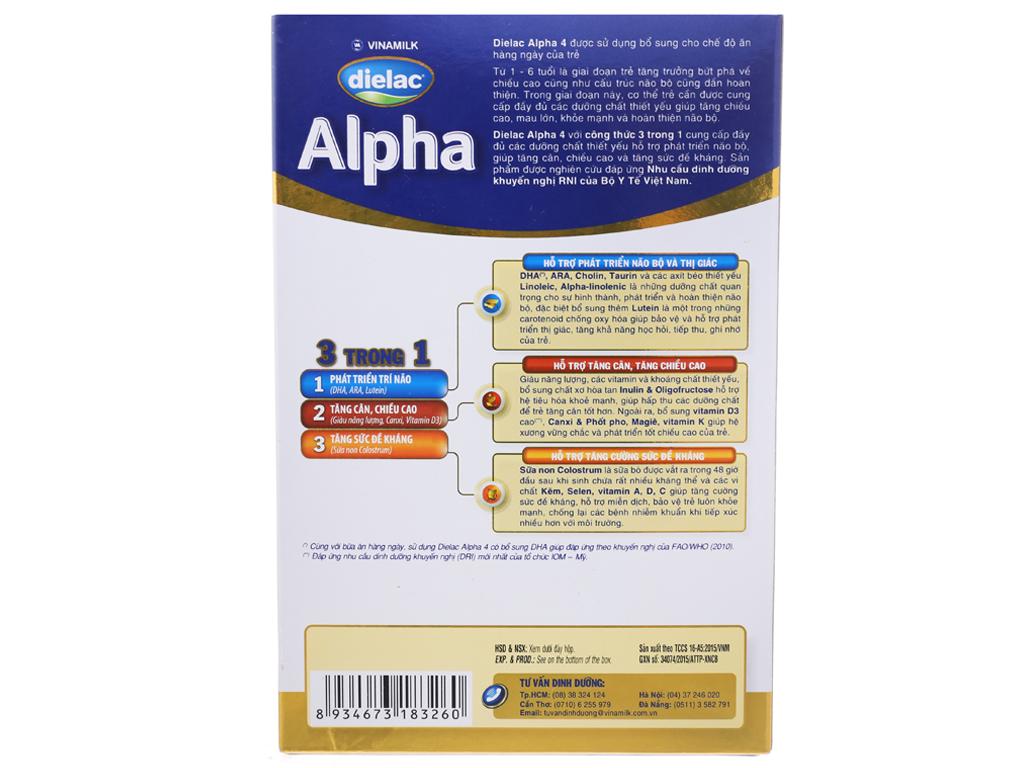Sữa bột Dielac Alpha 4 hộp 400g (2 - 6 tuổi) 3