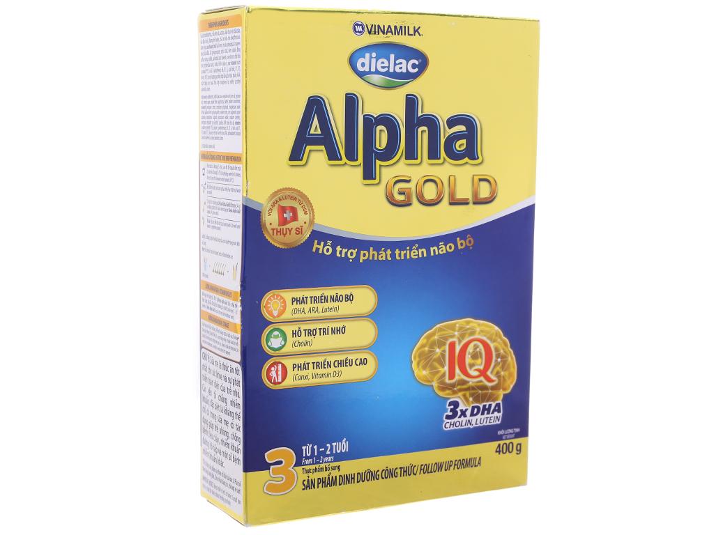 Sữa bột Dielac Alpha Gold 3 vani hộp 400g (1 - 2 tuổi) 2
