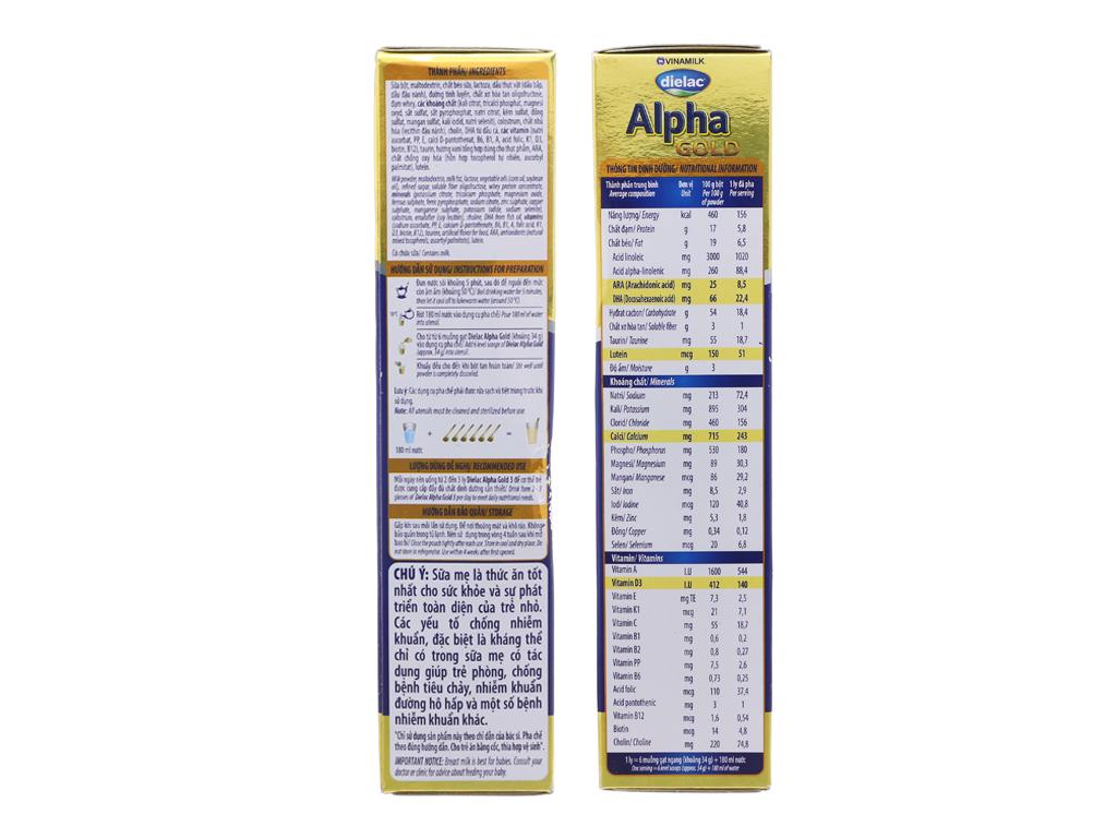 Sữa bột Dielac Alpha Gold 3 vani hộp 400g (1 - 2 tuổi) 4