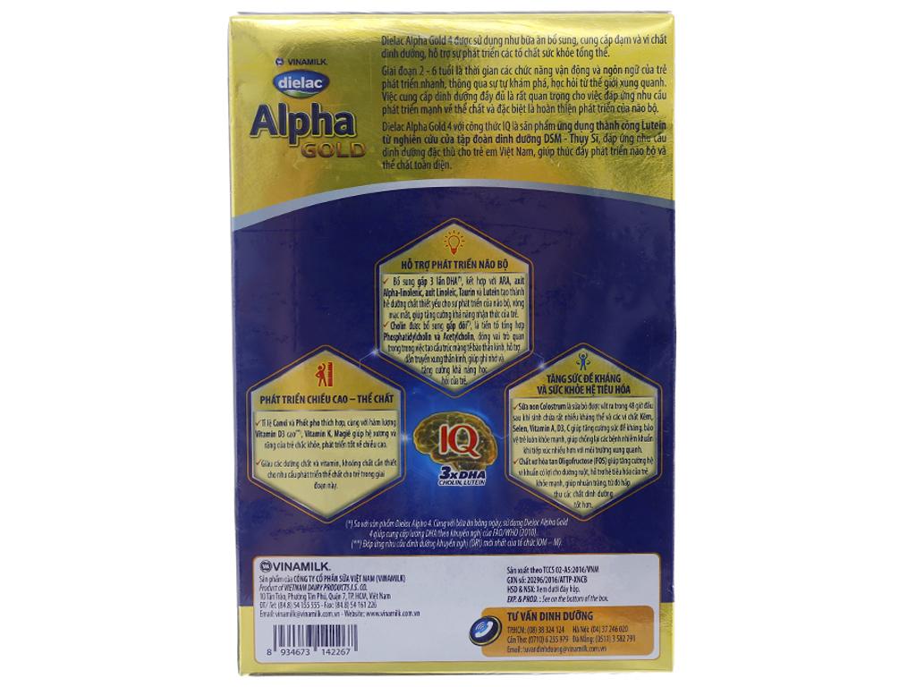Sữa bột Dielac Alpha Gold 4 hộp 400g (2 - 6 tuổi) 2
