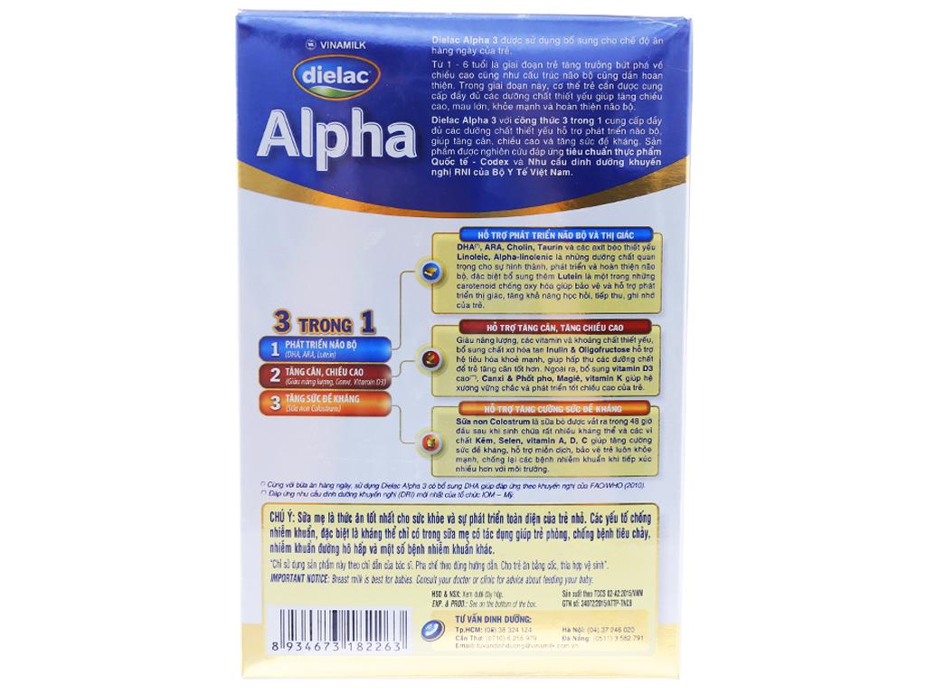 Sữa bột Dielac Alpha 3 hộp 400g (1 - 2 tuổi) 2