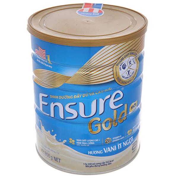 Sữa bột Ensure Gold vani ít ngọt lon 850g (người lớn từ 19 tuổi)