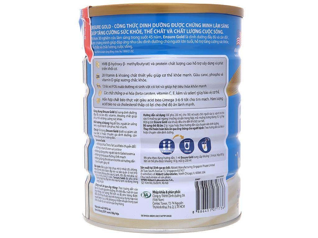 Sữa bột Ensure Gold vani ít ngọt lon 850g (từ 19 tuổi) 3