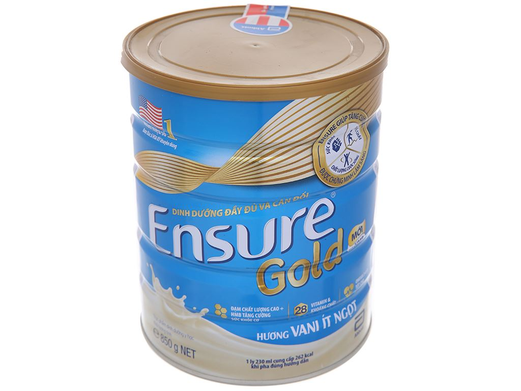 Sữa bột Ensure Gold vani ít ngọt lon 850g (người lớn từ 19 tuổi) 1