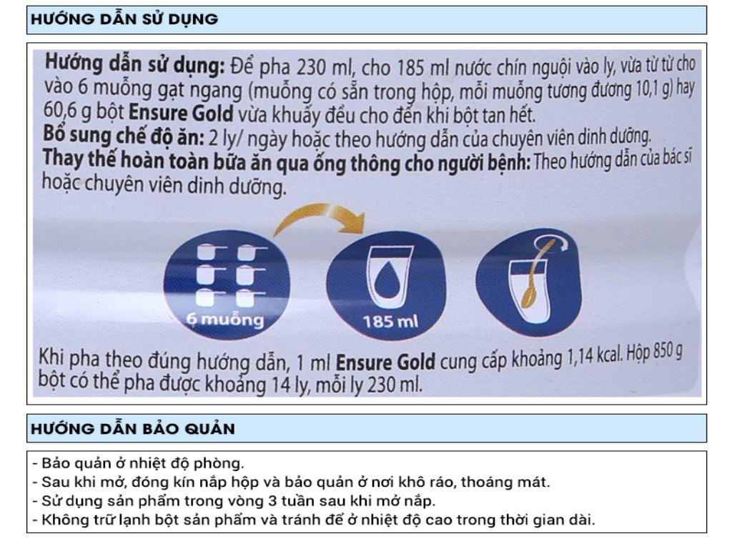 Sữa bột Ensure Gold vani ít ngọt lon 850g (từ 19 tuổi) 7