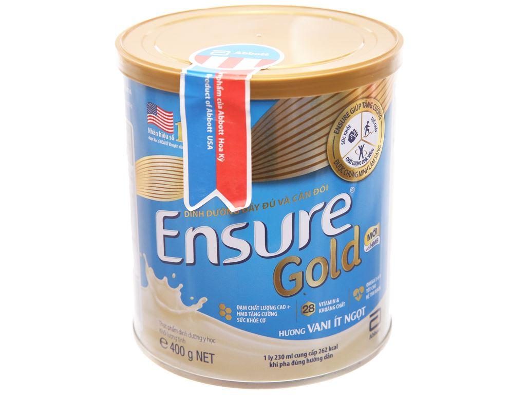 Sữa bột Ensure Gold vani ít ngọt lon 400g (từ 19 tuổi) 1