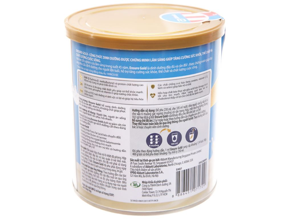 Sữa bột Ensure Gold vani ít ngọt lon 400g (từ 19 tuổi) 3