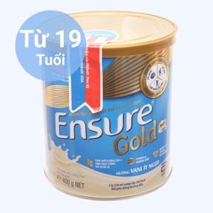 Sữa bột Ensure Gold vani ít ngọt lon 400g (từ 19 tuổi)