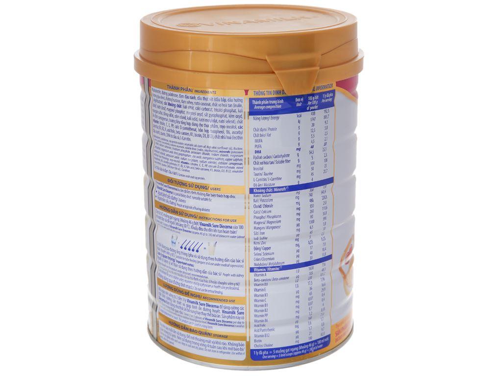 Sữa bột Vinamilk Sure Diecerna lon 900g (cho người bệnh tiểu đường) 2