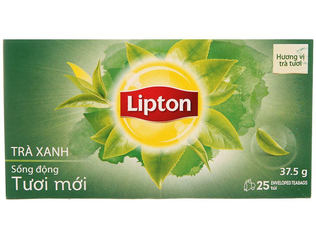 Hộp 25 túi trà xanh Lipton Sống động tươi mới 37.5g 2