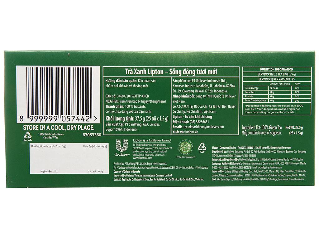 Hộp 25 túi trà xanh Lipton Sống động tươi mới 37.5g 3