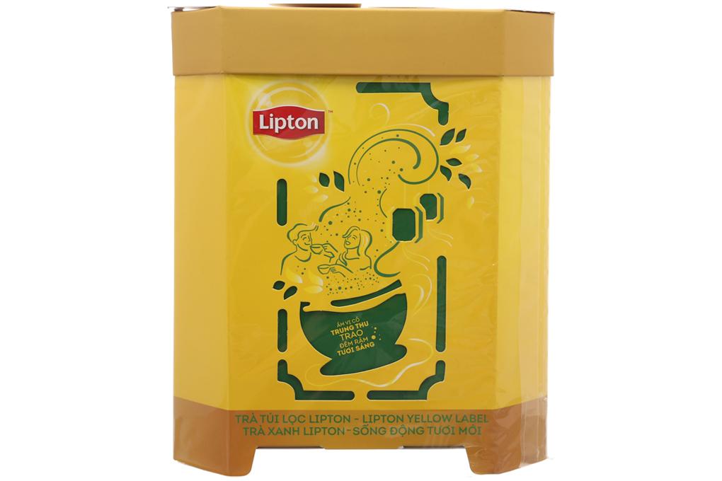 Bộ trà Lipton nhãn vàng 25 gói và Lipton trà xanh 25 gói tặng lồng đèn