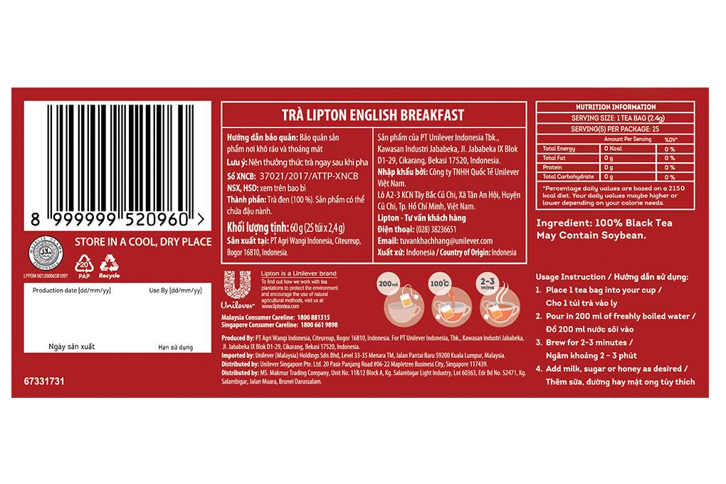 Trà Lipton English Breafast 2.4g x 25 gói