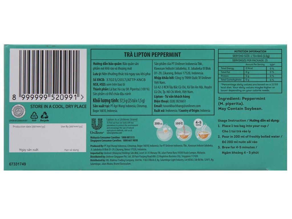 Trà bạc hà Lipton Peppermint hộp 37.5g (1.5g x 25 túi) 3