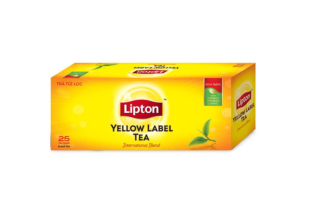 Hộp quà Lipton Trà Nhãn Vàng 25 gói  và Trà Xanh 25 gói tặng ly sứ cao cấp