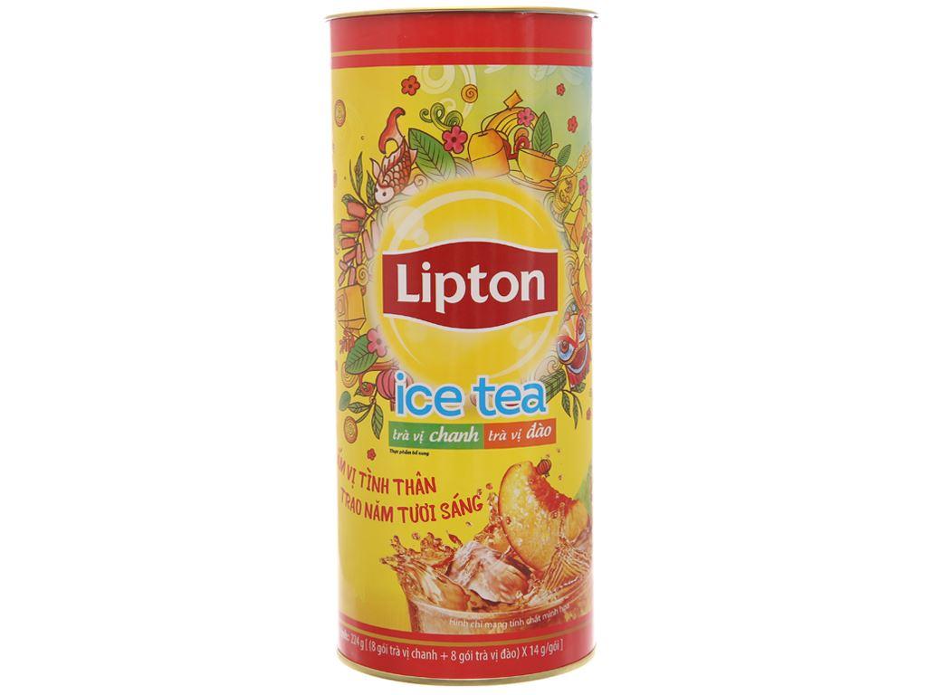 Hộp quà Trà chanh và trà đào Lipton 224g (14g x 16 túi) 1