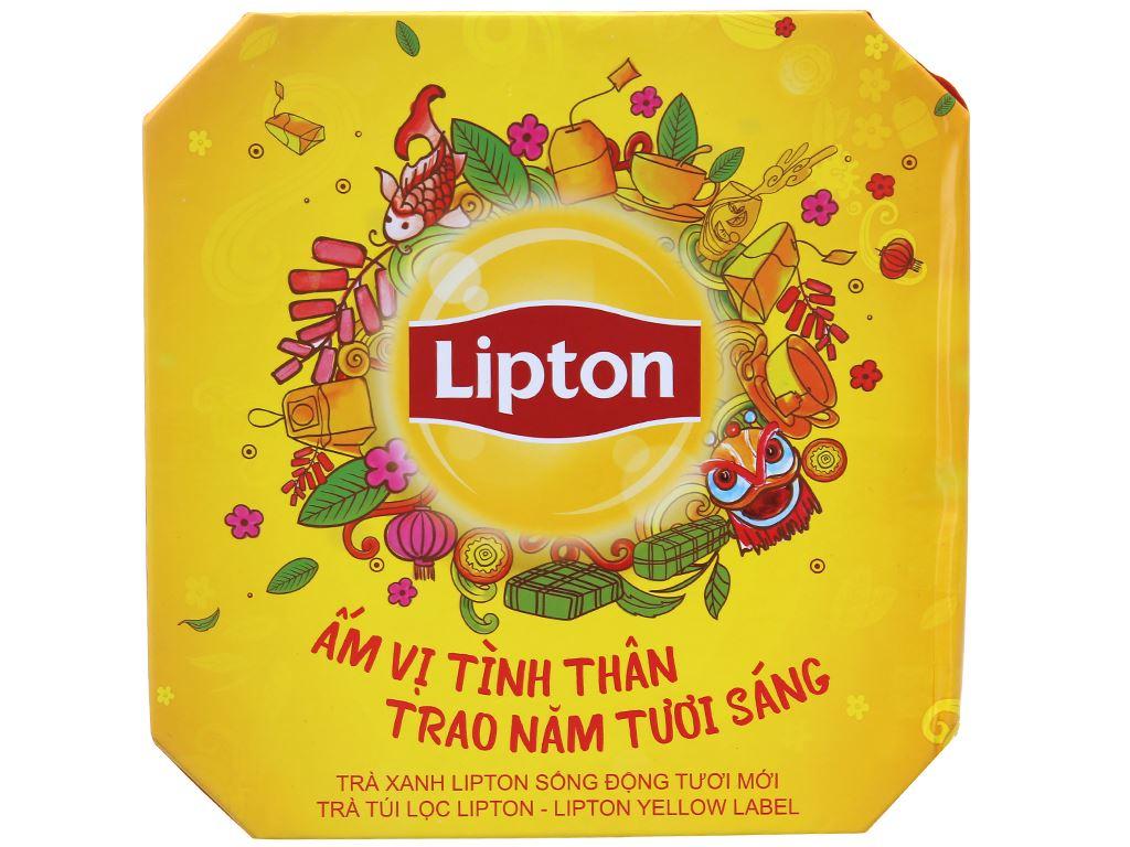Hộp quà 30 túi trà đen và trà xanh Lipton Nhãn vàng 1