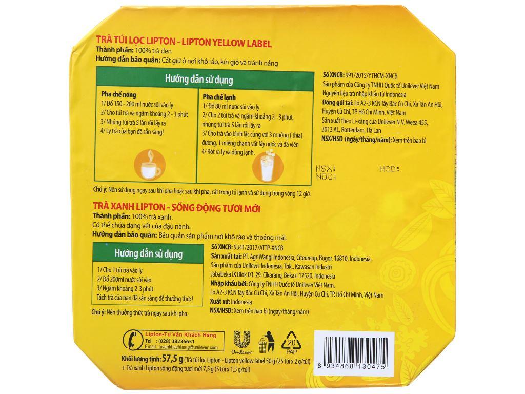 Hộp quà 30 túi trà đen và trà xanh Lipton Nhãn vàng 2